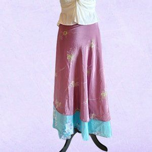 Reversible silk wrap skirt floral blue and purple
